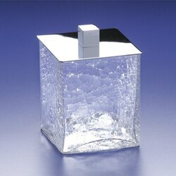 WINDISCH 88129 BOX CRACKLED SQUARE CRACKLED CRYSTAL GLASS COTTON BALL JAR