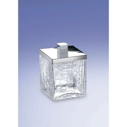 WINDISCH 88148 COMPLEMENTS FREE STANDING CRACKLED GLASS SQUARE COTTON SWABS JAR