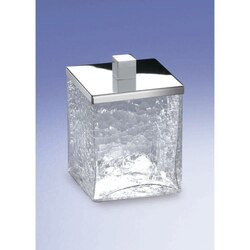 WINDISCH 88149 COMPLEMENTS FREE STANDING CRACKLED GLASS SQUARE COTTON PADS JAR