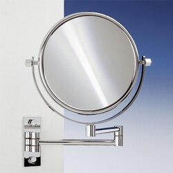 WINDISCH 99145 DOUBLE FACE MIRRORS BRASS WALL MOUNTED EXTENDABLE DOUBLE FACE MAGNIFYING MIRROR