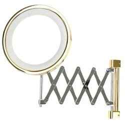 WINDISCH 99158 INCANDESCENT MIRRORS WALL MOUNTED EXTENDABLE LIGHTED BRASS MAGNIFYING MIRROR