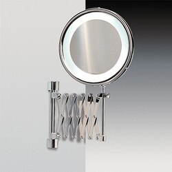 WINDISCH 99188 FLUORESCENT MIRRORS WALL MOUNTED BRASS EXTENDABLE LIGHTED MAGNIFYING MIRROR