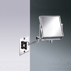 WINDISCH 99345 MIRROR COLLECTION SQUARE WALL MOUNTED BRASS DOUBLE FACE MAGNIFYING MIRROR