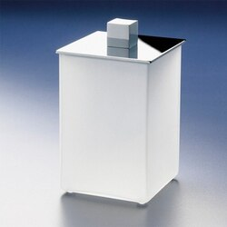 WINDISCH 88122M BOX FROZEN SQUARE WHITE FROSTED GLASS COTTON BALL JAR