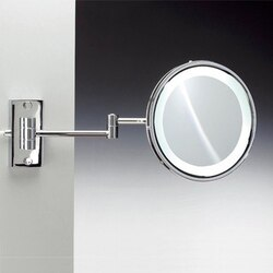 WINDISCH 99187/D FLUORESCENT MIRRORS WALL MOUNTED ROUND LIGHTED HARDWIRED BRASS MAGNIFYING MIRROR