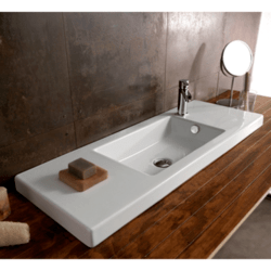 TECLA 3502011 SERIE 35 39 X 14 INCH RECTANGULAR WHITE CERAMIC WALL MOUNTED OR BUILT-IN SINK