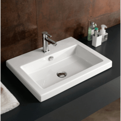TECLA CAN01011 CANGAS 24 X 18 INCH RECTANGULAR WHITE CERAMIC SELF RIMMING OR WALL MOUNTED SINK