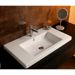 TECLA CAN02011 CANGAS 32 X 18 INCH RECTANGULAR WHITE CERAMIC WALL MOUNTED OR BUILT-IN SINK