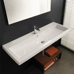 TECLA CAN05011A CANGAS 47 X 18 INCH RECTANGULAR WHITE CERAMIC WALL MOUNTED OR BUILT-IN SINK
