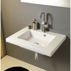 TECLA MAR01011 MARS 28 X 21 INCH RECTANGULAR WHITE CERAMIC WALL MOUNTED OR BUILT-IN SINK