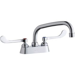 ELKAY LK406AT08T6 DECK MOUNT FAUCET WITH 8 INCH ARC TUBE SPOUT AND 6 INCH HANDLES