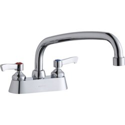 ELKAY LK406AT10L2 DECK MOUNT FAUCET WITH 10 INCH ARC TUBE SPOUT AND 2 INCH HANDLES