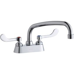 ELKAY LK406AT10T4 DECK MOUNT FAUCET WITH 10 INCH ARC TUBE SPOUT AND 4 INCH HANDLES