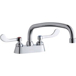 ELKAY LK406AT12T4 DECK MOUNT FAUCET WITH 12 INCH ARC TUBE SPOUT AND 4 INCH HANDLES