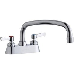 ELKAY LK406AT14L2 DECK MOUNT FAUCET WITH 14 INCH ARC TUBE SPOUT AND 2 INCH HANDLES