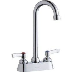 ELKAY LK406GN05L2 DECK MOUNT FAUCET WITH 5 INCH GOOSENECK SPOUT AND 2 INCH HANDLES