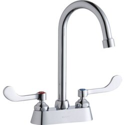 ELKAY LK406GN05T4 DECK MOUNT FAUCET WITH 5 INCH GOOSENECK SPOUT AND 5 INCH HANDLES