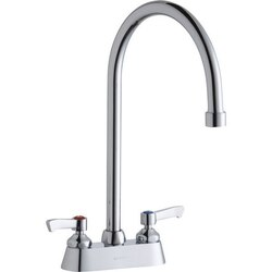 ELKAY LK406GN08L2 DECK MOUNT FAUCET WITH 4 INCH GOOSENECK SPOUT AND 2 INCH HANDLES