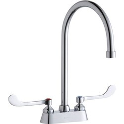 ELKAY LK406GN08T6 DECK MOUNT FAUCET WITH 4 INCH GOOSENECK SPOUT AND 6 INCH HANDLES