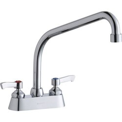 ELKAY LK406HA10L2 DECK MOUNT FAUCET WITH 10 INCH HIGH ARC SPOUT AND 2 INCH HANDLES