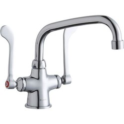 ELKAY LK500AT08T6 SINGLE HOLE WITH CONCEALED DECK MOUNT FAUCET, 8 INCH ARC TUBE SPOUT AND 6 INCH HANDLES