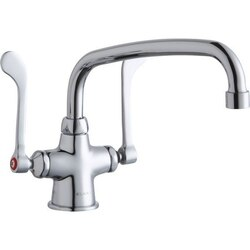 ELKAY LK500AT10T6 SINGLE HOLE WITH CONCEALED DECK MOUNT FAUCET, 10 INCH ARC TUBE SPOUT AND 6 INCH HANDLES