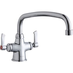 ELKAY LK500AT12L2 SINGLE HOLE WITH CONCEALED DECK MOUNT FAUCET, 12 INCH ARC TUBE SPOUT AND 2 INCH HANDLES