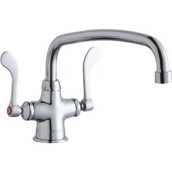 ELKAY LK500AT12T4 SINGLE HOLE WITH CONCEALED DECK MOUNT FAUCET, 12 INCH ARC TUBE SPOUT AND 4 INCH HANDLES