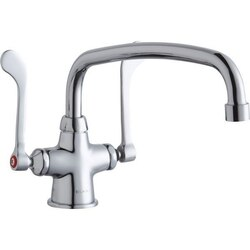 ELKAY LK500AT12T6 SINGLE HOLE WITH CONCEALED DECK MOUNT FAUCET, 12 INCH ARC TUBE SPOUT AND 6 INCH HANDLES