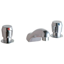 ELKAY LK651 DECK METERED LAVATORY FAUCET WITH CAST FIXED SPOUT PUSH BUTTON HANDLES