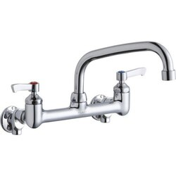 ELKAY LK940AT08L2H WALL MOUNT FAUCET WITH 8 INCH ARC TUBE SPOUT AND 2 INCH HANDLES, OFFSET INLETS