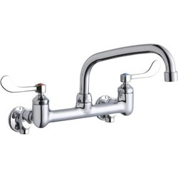 ELKAY LK940AT08T4S WALL MOUNT FAUCET WITH 8 INCH ARC TUBE SPOUT AND 4 INCH HANDLES, OFFSET INLETS+STOP