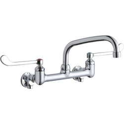 ELKAY LK940AT08T6S WALL MOUNT FAUCET WITH 8 INCH ARC TUBE SPOUT AND 6 INCH HANDLES, OFFSET INLETS+STOP