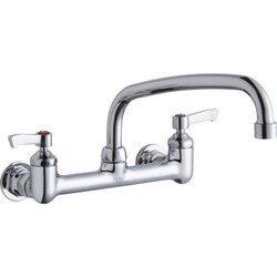 ELKAY LK940AT10L2H WALL MOUNT FAUCET WITH 10 INCH ARC TUBE SPOUT AND 2 INCH HANDLES, OFFSET INLETS