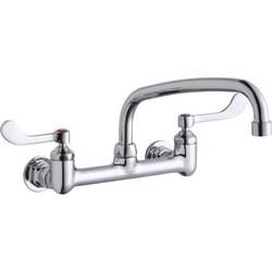 ELKAY LK940AT10T4H WALL MOUNT FAUCET WITH 10 INCH ARC TUBE SPOUT AND 4 INCH HANDLES, OFFSET INLETS