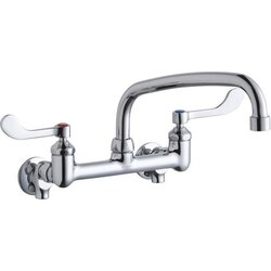 ELKAY LK940AT10T4S WALL MOUNT FAUCET WITH 10 INCH ARC TUBE SPOUT AND 4 INCH HANDLES, OFFSET INLETS+STOP