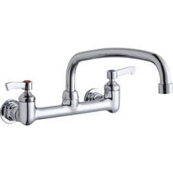 ELKAY LK940AT14L2H WALL MOUNT FAUCET WITH 14 INCH ARC TUBE SPOUT AND 2 INCH HANDLES, OFFSET INLETS