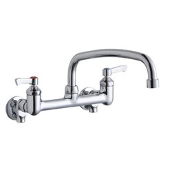 ELKAY LK940AT14L2S WALL MOUNT FAUCET WITH 14 INCH ARC TUBE SPOUT AND 2 INCH HANDLES, OFFSET INLETS+STOP