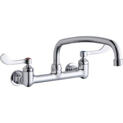 ELKAY LK940AT14T4H WALL MOUNT FAUCET WITH 14 INCH ARC TUBE SPOUT AND 4 INCH HANDLES, OFFSET INLETS