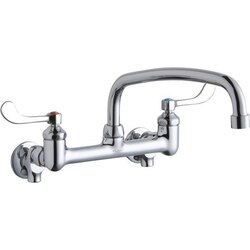 ELKAY LK940AT14T4S WALL MOUNT FAUCET WITH 14 INCH ARC TUBE SPOUT AND 4 INCH HANDLES, OFFSET INLETS+STOP