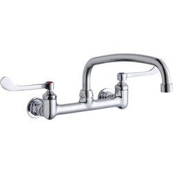 ELKAY LK940AT14T6H WALL MOUNT FAUCET WITH 14 INCH ARC TUBE SPOUT AND 6 INCH HANDLES, OFFSET INLETS