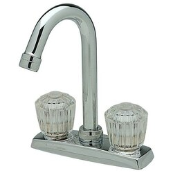 ELKAY LKA2475LF DECK MOUNT FAUCET WITH GOOSENECK SPOUT AND CLEAR CRYSTALAC HANDLES