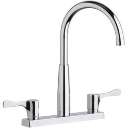 ELKAY LKD2423BHC DECK MOUNT FAUCET WITH GOOSENECK SPOUT AND 2-5/8 INCH LEVER HANDLES