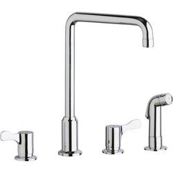 ELKAY LKD2433C DECK MOUNT FAUCET WITH ARC SPOUT AND 2-5/8 INCH LEVER HANDLES WITH SIDE SPRAY