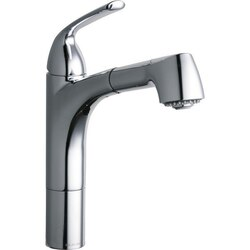 ELKAY LKGT1041 GOURMET SINGLE HOLE KITCHEN FAUCET PULL-OUT SPRAY AND LEVER HANDLE WITH HI AND MID-RISE BASE OPTIONS
