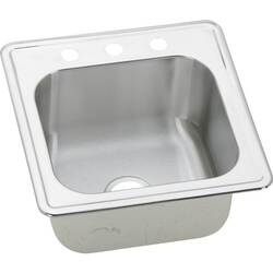 ELKAY ESE2020103 CELEBRITY STAINLESS STEEL 20 L X 20 W X 10-1/8 D TOP MOUNT LAUNDRY/UTILITY SINK, 3 FAUCET HOLES