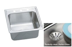 ELKAY DLR191910PD2 STAINLESS STEEL 19-1/2 L X 19 W X 10-1/8 D TOP MOUNT LAUNDRY/UTILITY SINK KIT, 2 FAUCET HOLES