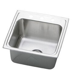 ELKAY DLRQ1919102 LUSTERTONE STAINLESS STEEL 19-1/2 L X 19 W X 10-1/8 D TOP MOUNT LAUNDRY/UTILITY SINK, 2 FAUCET HOLES