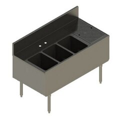 ELKAY UB-3C48X24-R-12X 48 L X 24 W X 36 H UNDERBAR THREE BOWLS UTILITY SINK, RIGHT DRAINBOARD
