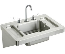 ELKAY ESLV2820W4C 28 L X 20 W X 7-1/2 D WALL HUNG LAVATORY SINK KIT WITH FAUCET, 3 FAUCET HOLES